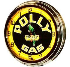 """Polly Gas 17"""" Yellow Neon Clock"""