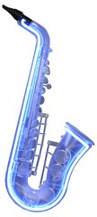 Blue Neon Saxophone Wall Art