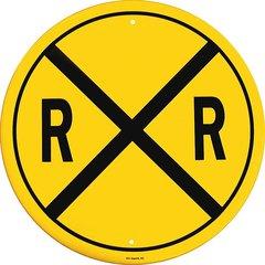 Rail Road Crossing Round Embossed Metal Sign