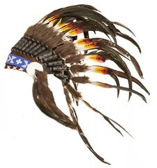 Handmade Long Yellow Red Feathered Black Tipped Headdress