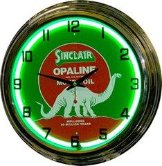 "Sinclair Opaline Motor Oil 17"" Green Neon Wall Clock"