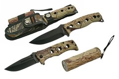 Camo Folding Knife + Fixed Blade Knife + Flashlight 3 Pc Set