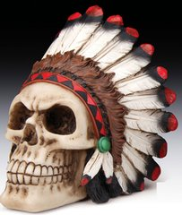 Indian Chief Skull Figurine- 3 3/4""