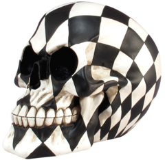 Black & White Checkered Skull Figurine