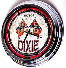 "Dixie Motor Oil 17""Red Neon Clock"