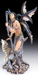 Male Fairy with Wolf Figurine- 10 1/2""
