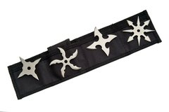 """Convergence"" Silver Throwing Star 4 Pc Set"