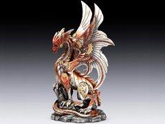 "Steampunk 10"" Dragon on Rock Figurine"