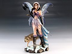 Fairy Warrior w/ Poleaxe & Wolf Figurine