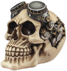 "Steampunk 5"" Skull Figurine w/ Goggles"