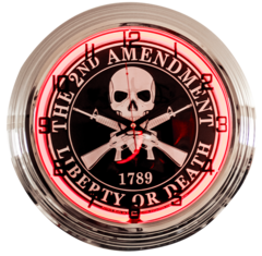 """The 2nd Amendment 17"""" Red Neon Wall Clock"""