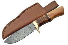 """9 1/2"""" Damascus Hunting Knife w/ Leather and Olive Wood Handle"""