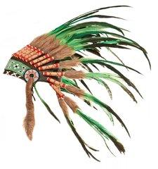Handmade Long Feathered Green Headdress