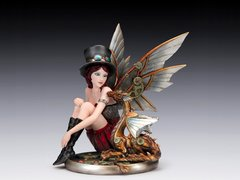 "Steampunk Lady with Wings & Baby Dragon 10"" Figurine"