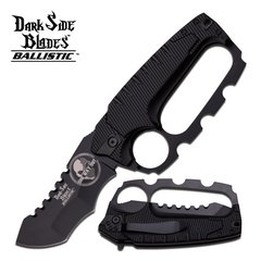 "Dark Side Blades Ballistic ""One Way Out"" Black Spring Assist Knuckle Knife"