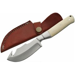 "7-1/2"" Full Tang Guthook Fixed Blade Knife w/ Bone Handle"