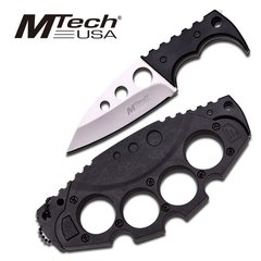 "MTech ""Lost Cause"" Black Neck Knife w/ Knuckle Sheath"