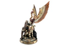 Steampunk Lady with Mechanical Monster Statue Figurine