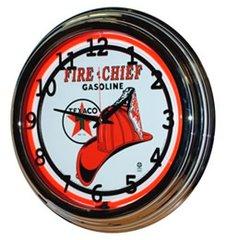 "Texaco Fire Chief Gasoline 17"" Red Neon Wall Clock"