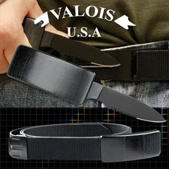 Dan Valois Black Belt Buckle Knife with Adjustable Nylon Belt
