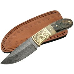"8"" Damascus Hunter Fixed Blade Knife w/ Ram Horn & Bone Handle"