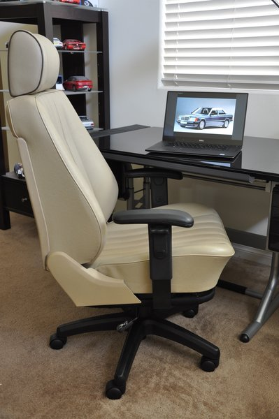 mercedes 190e mb-tex office manager racing chair - cream beige