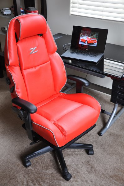 custom office chair. nissan 300zx custom faux leather poweroperated office chair red w gray piping