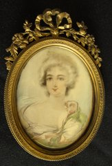 Two Hand Painted Early 19th Century Miniature Ivory Portraits, Rich, Vibrant Colors