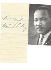 Civil Rights Leader Dr. Martin Luther King Jr. -- His Autograph