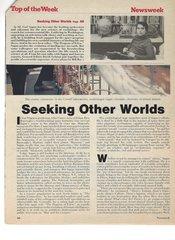 Astronomer Carl Sagan, Seeking Other Worlds, Autographs Newsweek Cover, Profile