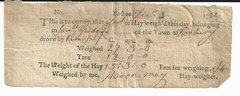 Roxbury, MA, Farmer Samuel Goddard Receives Receipt for Hay in 1782