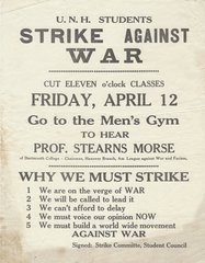 University of New Hampshire Students Plan Anti-World War II Strike