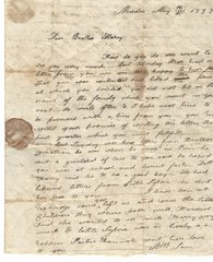 Treaty of Ghent Diplomat, Appointed by James Madison, Mentioned in Family Letter to Younger Brother
