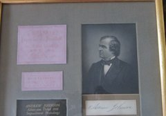 Andrew Johnson Matted and Framed Impeachment Ticket with Autograph and Image