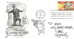 Artist Dean Young Cartoon of Dagwood, First Day Cover Celebrates Al Jolson -- Autograph