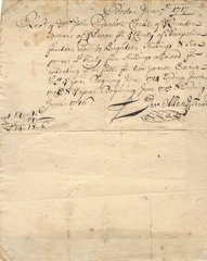 MA Bay Colony Tax Receipt Signed by His Majesty's Treasurer in 1717 for John Pynchon