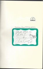 Clive Cussler's Important Novel, Raise the Titanic, Signed by the Author with His Original Drawing