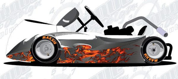 Carbon Fiber Flame Blade Race Car Go Kart Golf Cart Half