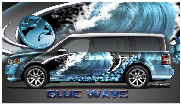 Blue Wave Hibiscus Go Kart Golf Cart Race Car Half Wrap