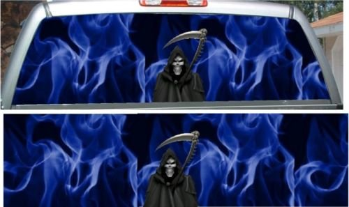 Blue Flame Grim Reaper Rear Window View Thru Graphic