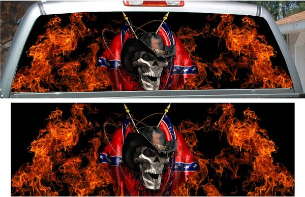 Rebel Flag Skull Flame Fire Rear Window View Thru Graphic
