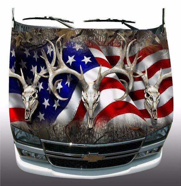American Flag Deer Buck Skull Hunting Camoufl Car Truck