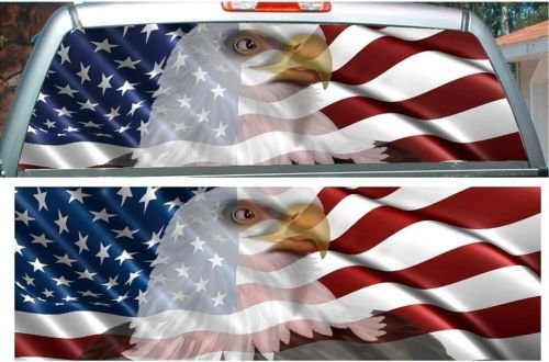 American Flag Eagle Rear Window View Thru Graphic Rapid