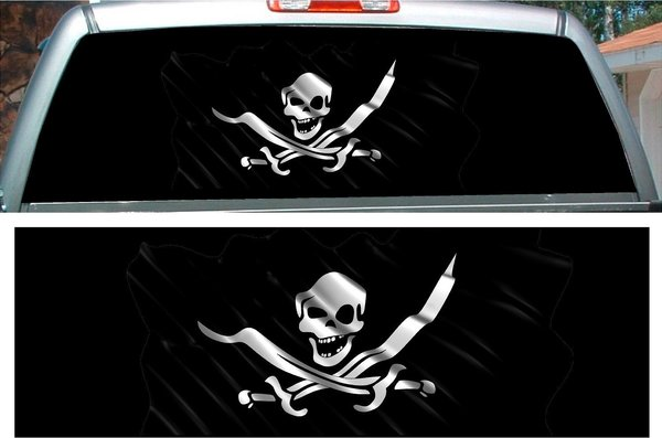 Pirate Flag Skull Swords Rear Window View Thru Graphic