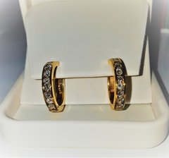 2 carat total weight hoop earrings set in yellow gold