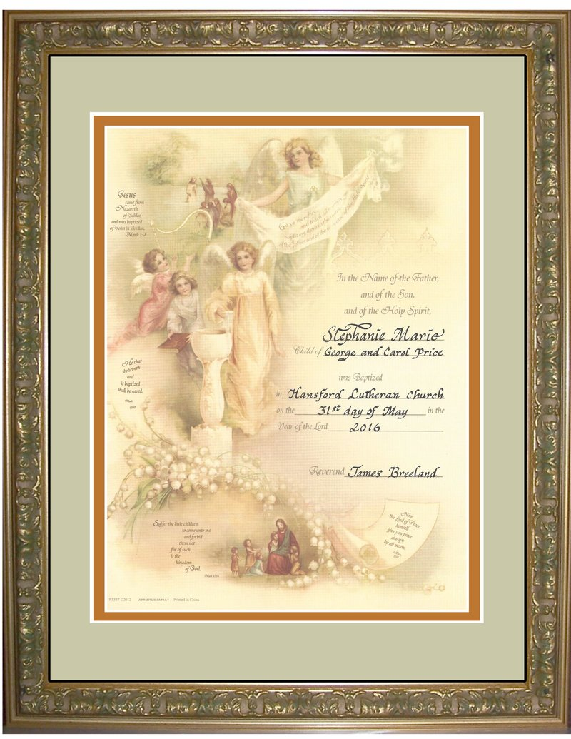 Angel Victorian Baptism Certificate For Boy Or Girl Matted And Fr