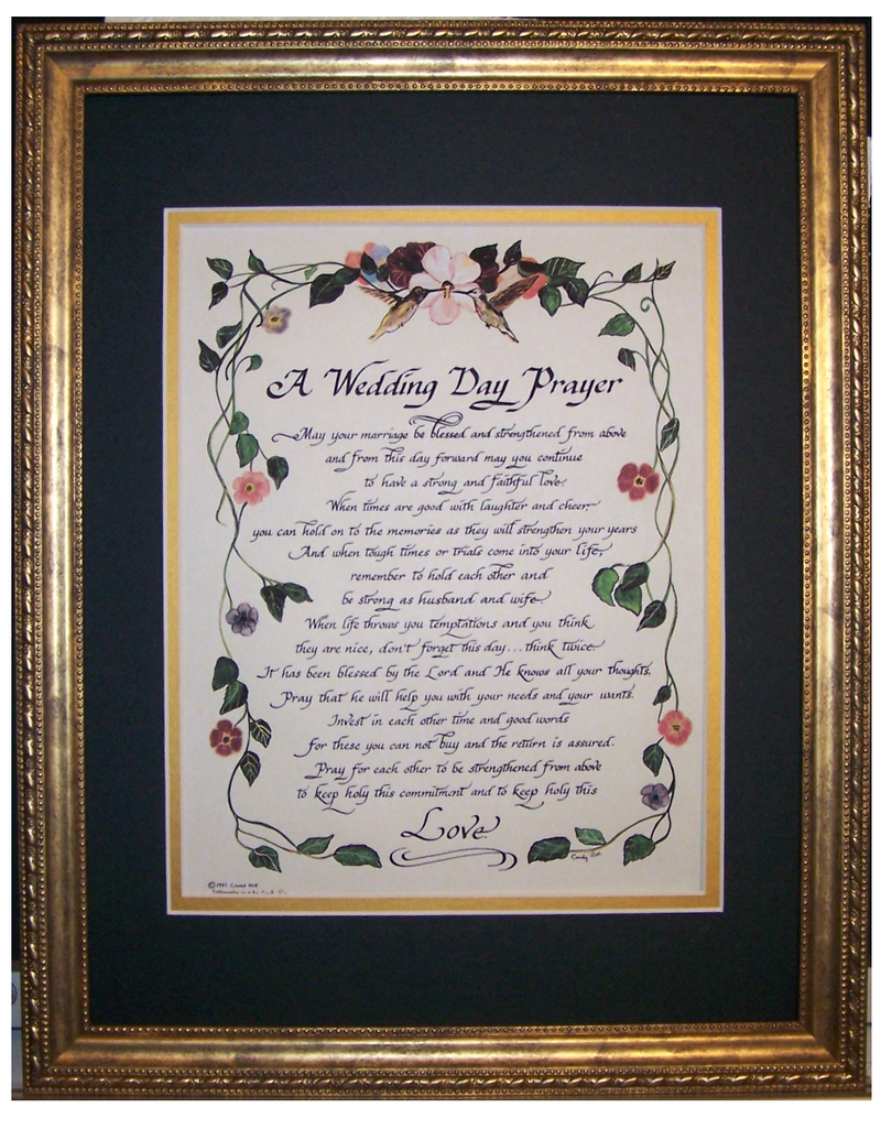 A Wedding Day Prayer Framed Art And Calligraphy Christian Poem Gift For Bride Groom
