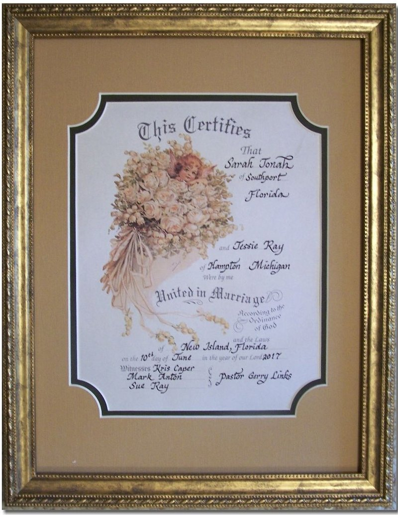 Angel Bouquet Victorian Marriage Certificate Matted And Framed Ha