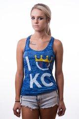 KC Flavor Blue Ladies Racerback Burnout Tank Top