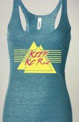 Keep KC Rad Aqua Blue Raw Edge Triblend Tank